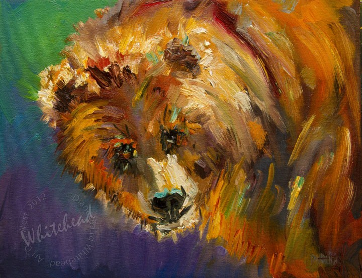 """Lovely Bear art DIANE WHITEHEAD FINE ART OIL PAINTNG wildlife"" original fine art by Diane Whitehead"