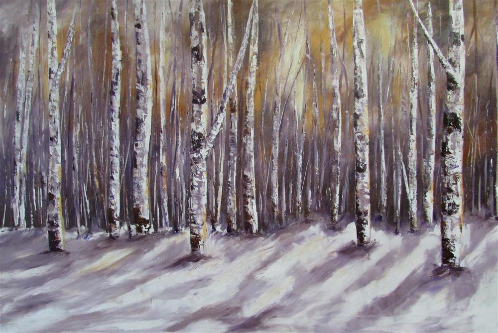 """""""24 x 36 inch Oil Birches in the Snow"""" original fine art by Linda Yurgensen"""