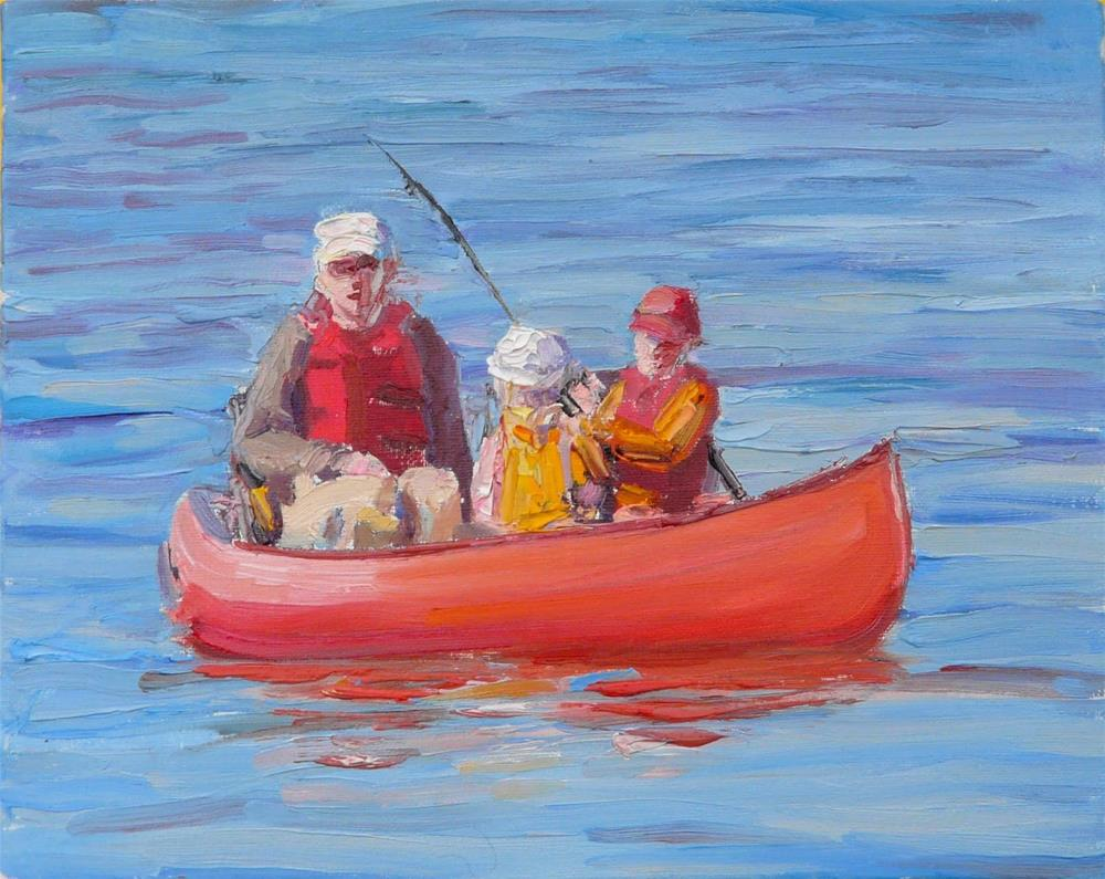 """Fishing With Dad,figures,oil painting,x10,price$400"" original fine art by Joy Olney"