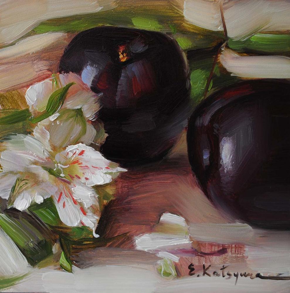 """""""Plums and Petals"""" original fine art by Elena Katsyura"""