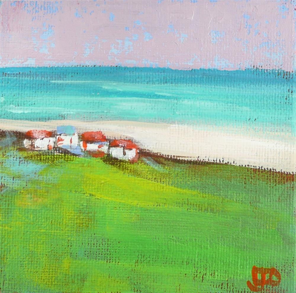 """Little Houses At The Beach"" original fine art by Leanne Owen"