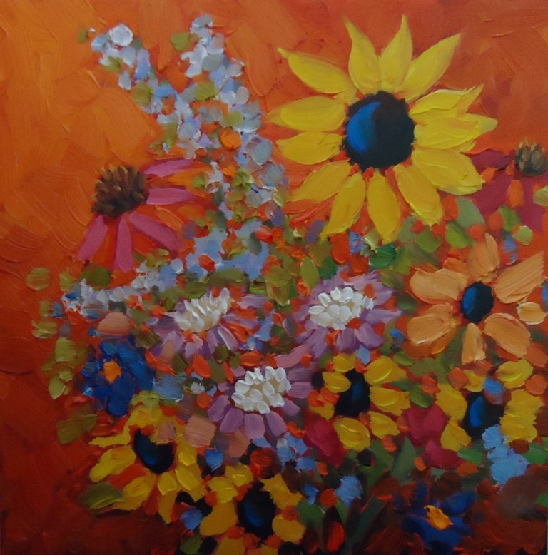 """125 SUNFLOWER BOUQUET"" original fine art by Dee Sanchez"