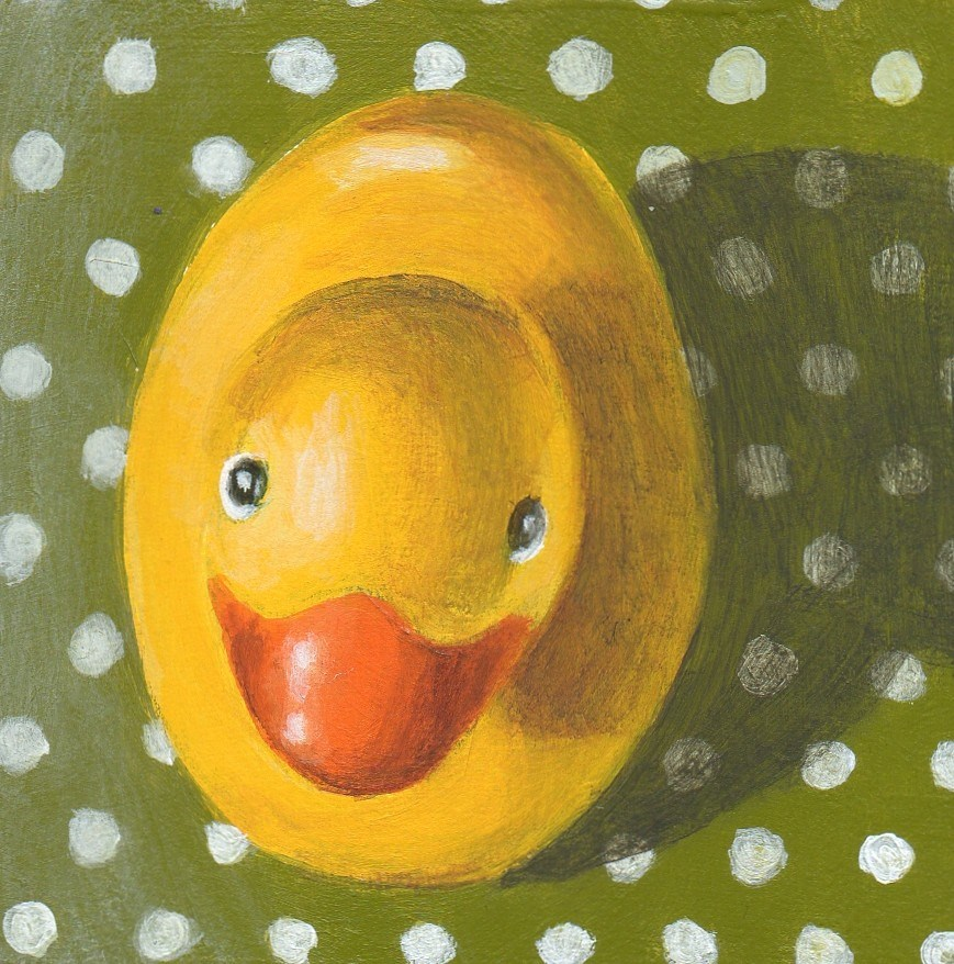 """Dotty Duckie"" original fine art by Debbie Shirley"