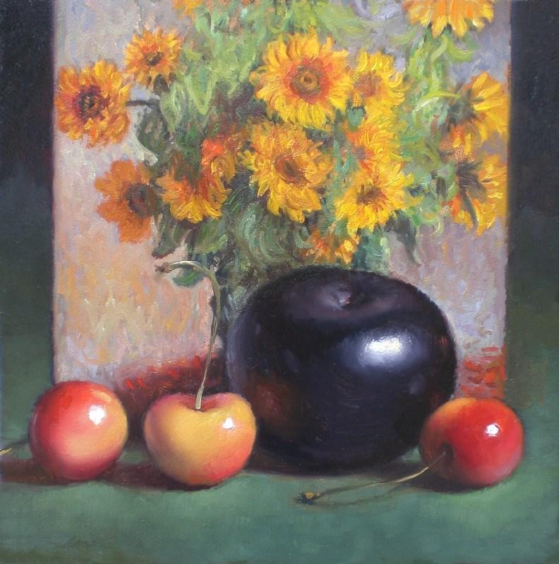 """Cherries and Monet Sunflowers"" original fine art by Debra Becks Cooper"