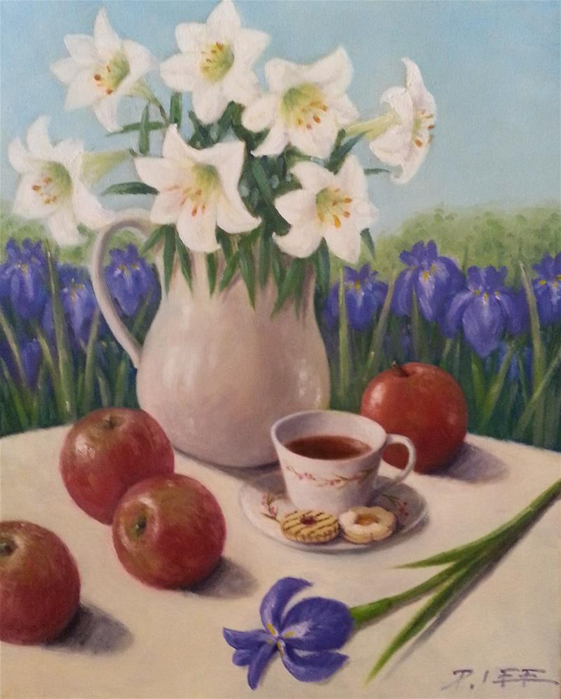 """Lilies and Irises"" original fine art by Peter Lee"