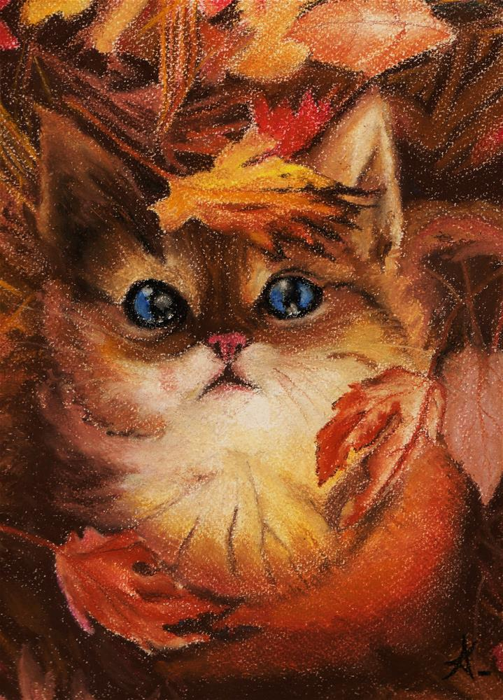 """autumn cat"" original fine art by Konstantia Karletsa"