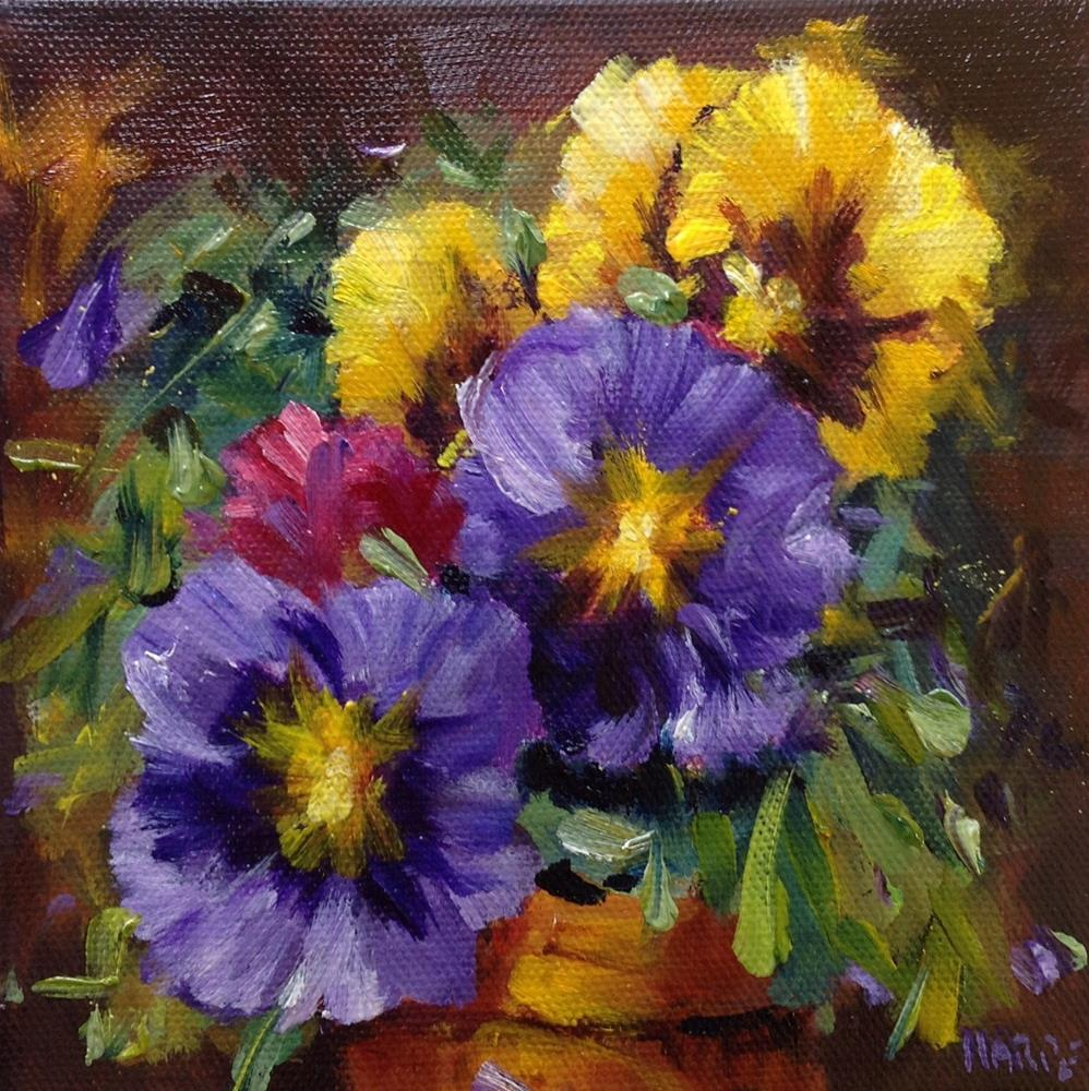 """Original pansy oil flower floral painting"" original fine art by Alice Harpel"