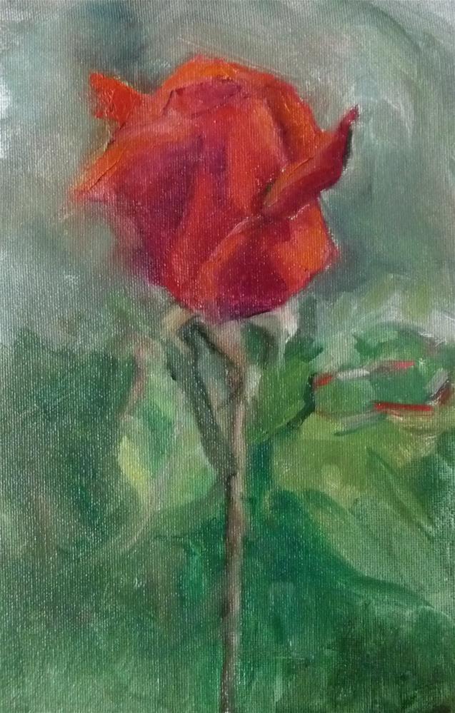 """One Rose"" original fine art by Carol Josefiak"