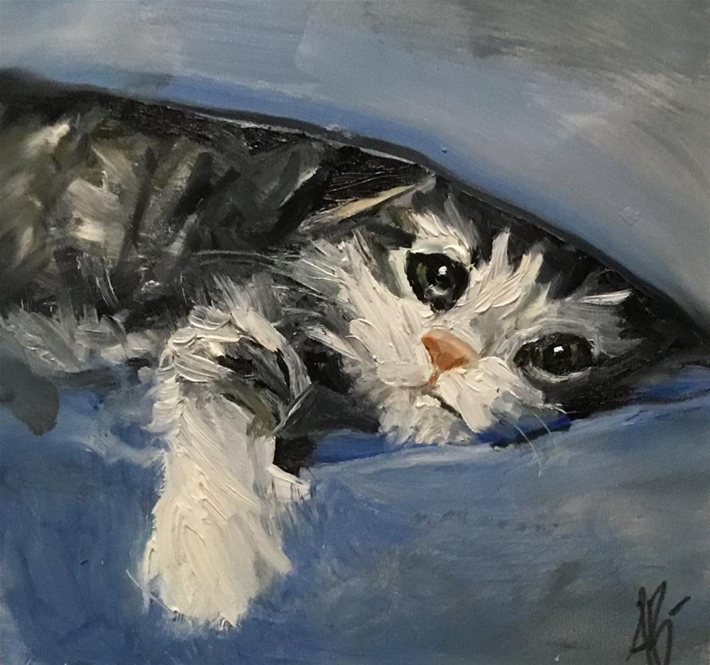 """Kitten's blanket Playing"" original fine art by Annette Balesteri"