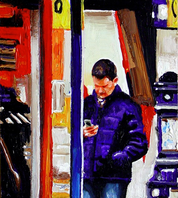 """Textmessage- Street Scene Painting Of A Guy Sending A Textmessage In Amsterdam"" original fine art by Gerard Boersma"