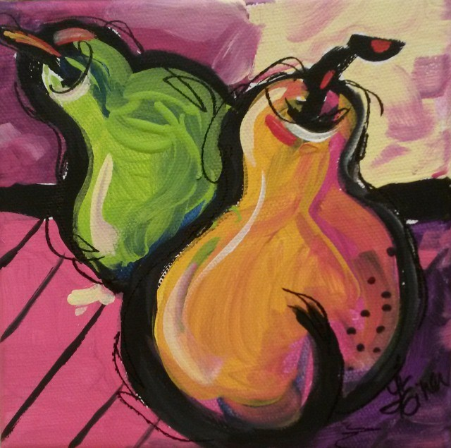 """30 Paintings in 30 Days-Day 26-Zany Pears"" original fine art by Terri Einer"