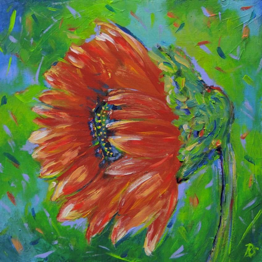 """Sunflower in July #2"" original fine art by Roberta Schmidt"