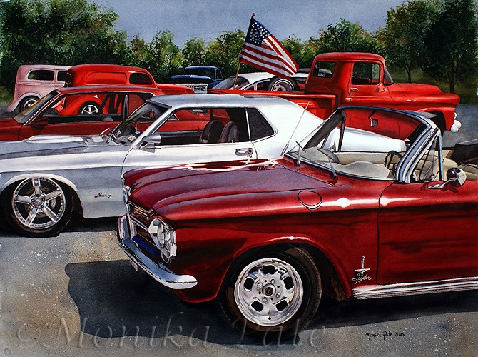 """Car Show"" original fine art by Monika Pate"