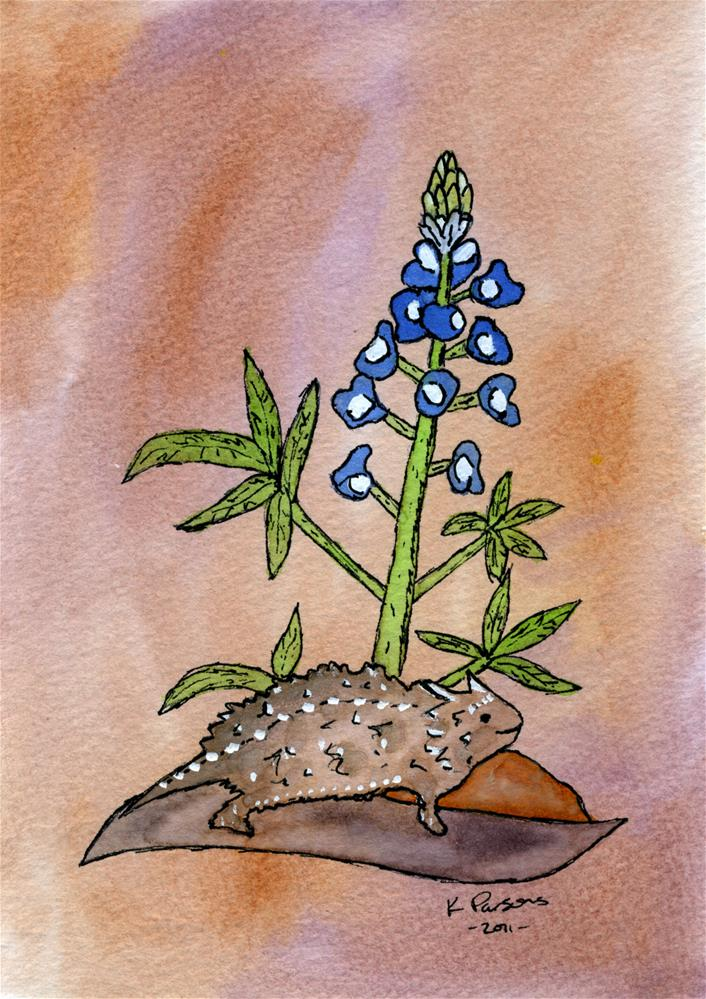 """Horned Toad and a Bluebonnet"" original fine art by Kali Parsons"