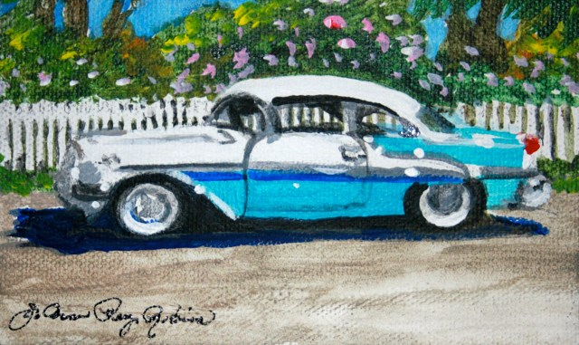 """Baby Blue Chevy"" original fine art by JoAnne Perez Robinson"