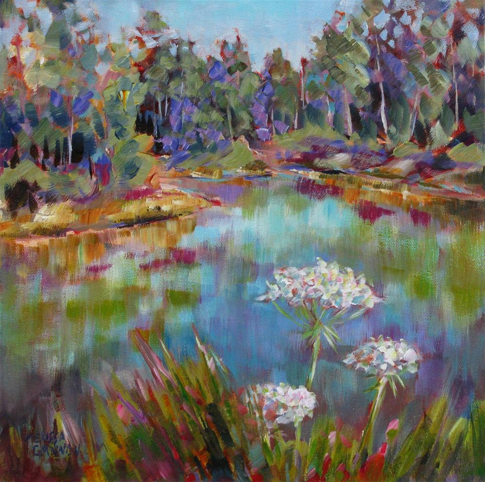 """Queen Anne's Lace in Front of the Water"" original fine art by Melissa Gannon"