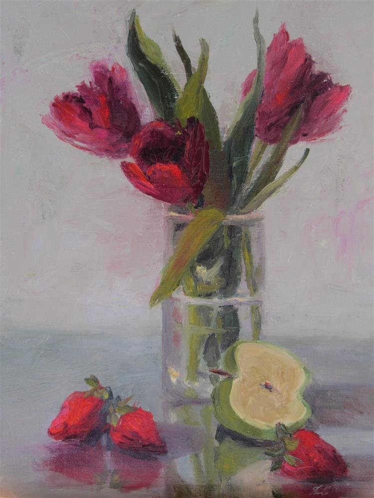 """""""Red Hot Tulips"""" original fine art by Pat Fiorello"""