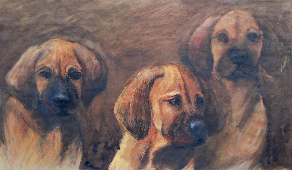 """Three puppies"" original fine art by Olga Touboltseva-Lefort"