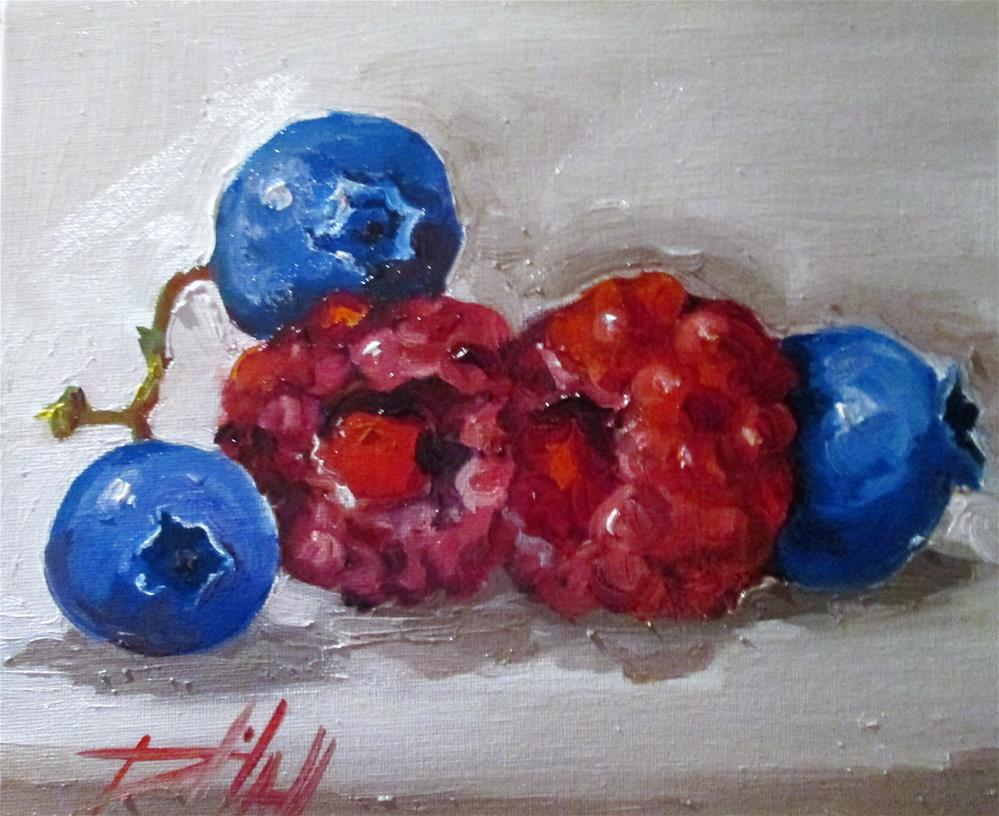 """Raspberries and Blueberries"" original fine art by Delilah Smith"
