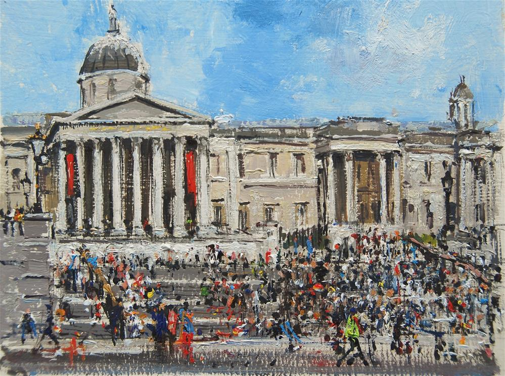 """Spring Crowds, National Gallery, London"" original fine art by Adebanji Alade"