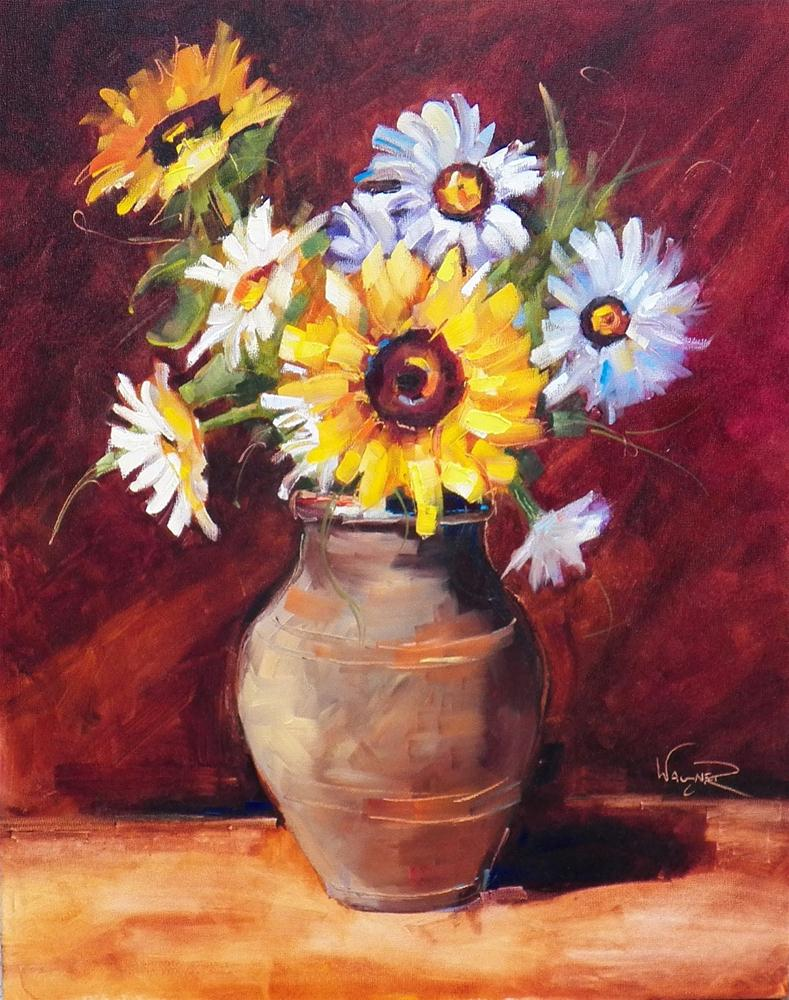 """SUNFLOWER FLORAL BOUQUET by OLGA WAGNER"" original fine art by Olga Wagner"