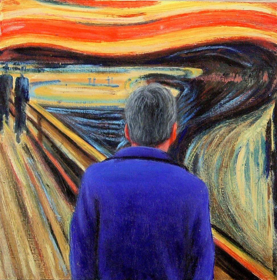 """Self Portrait With The Scream- Portrait Of The Artist With Painting By Edvard Munch"" original fine art by Gerard Boersma"