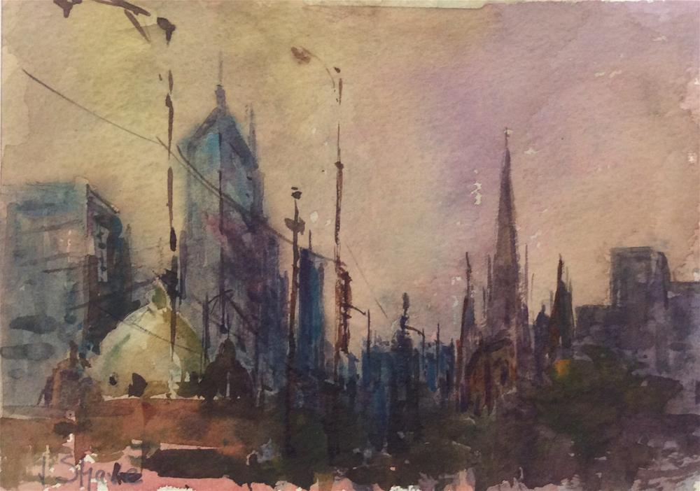 """Melbourne Skyline"" original fine art by John Shave"