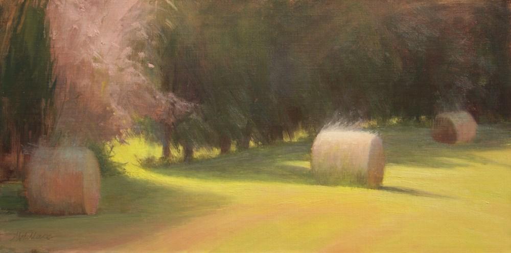 """""""#120 glowing bales"""" original fine art by Nancy Wallace"""