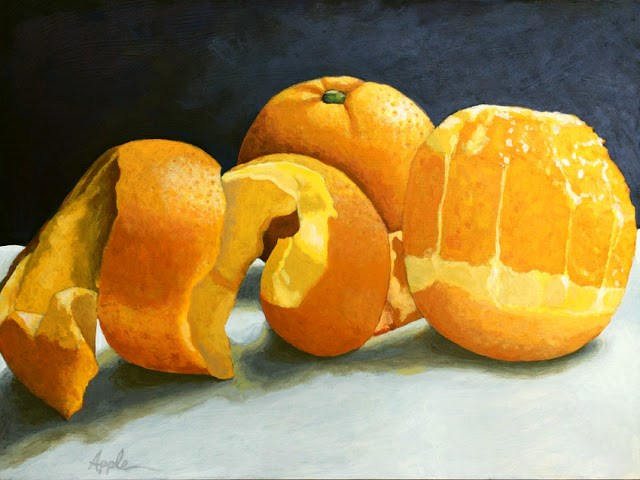 """Ready for Oranges - photo-realistic fruit food original painting"" original fine art by Linda Apple"