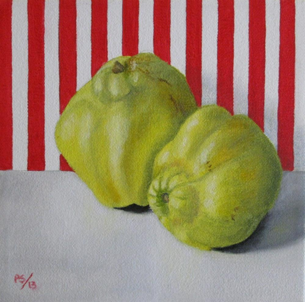 """Two Quinces on Red"" original fine art by Pera Schillings"