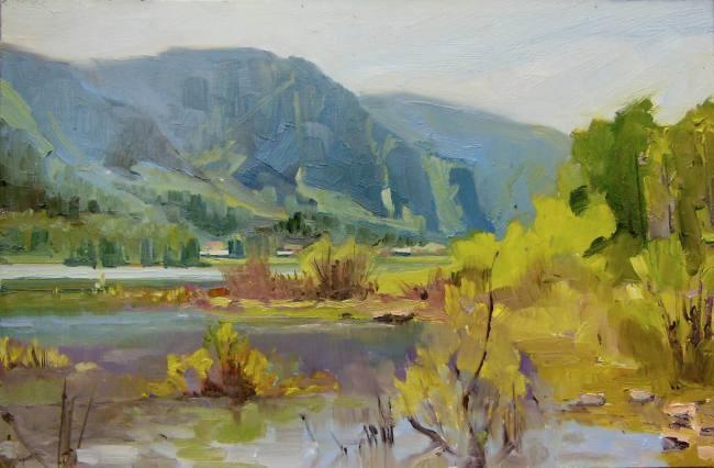 """Columbia River Bluffs  Plein air , oil landscape painting by Robin Weiss"" original fine art by Robin Weiss"