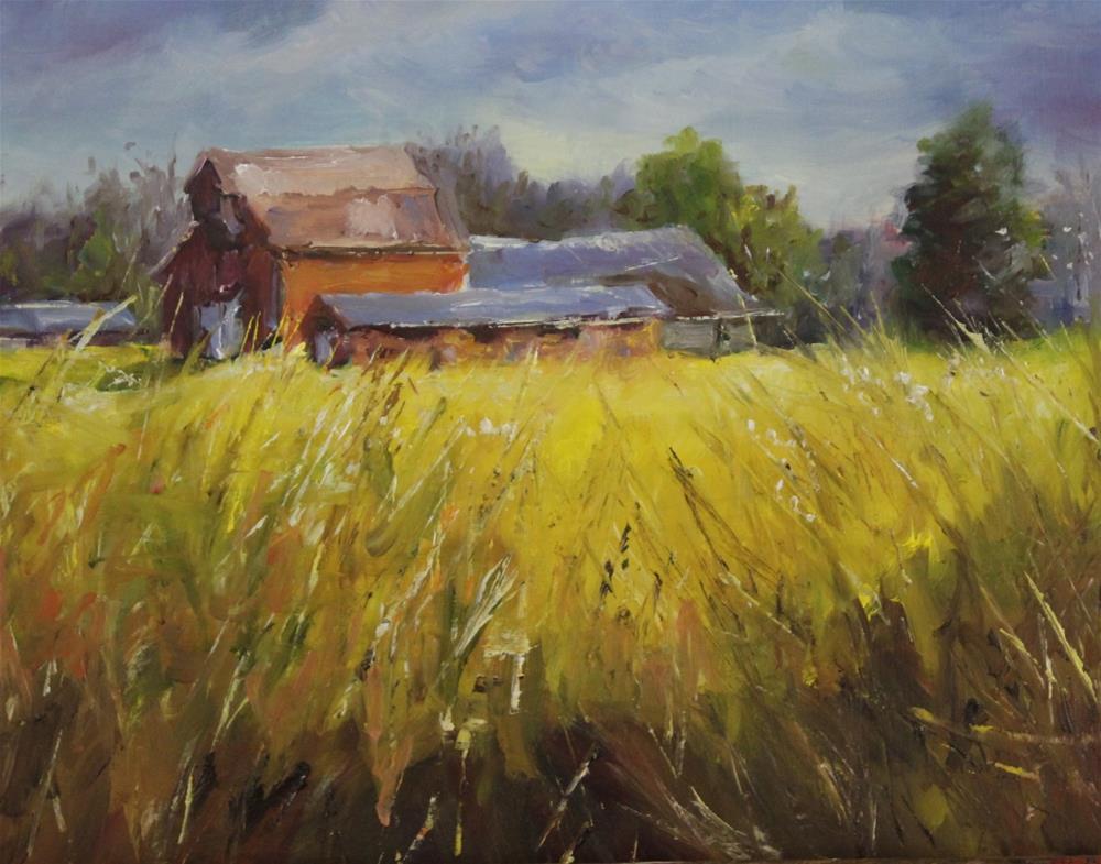"""Original oil barn landscape country landscape"" original fine art by Alice Harpel"