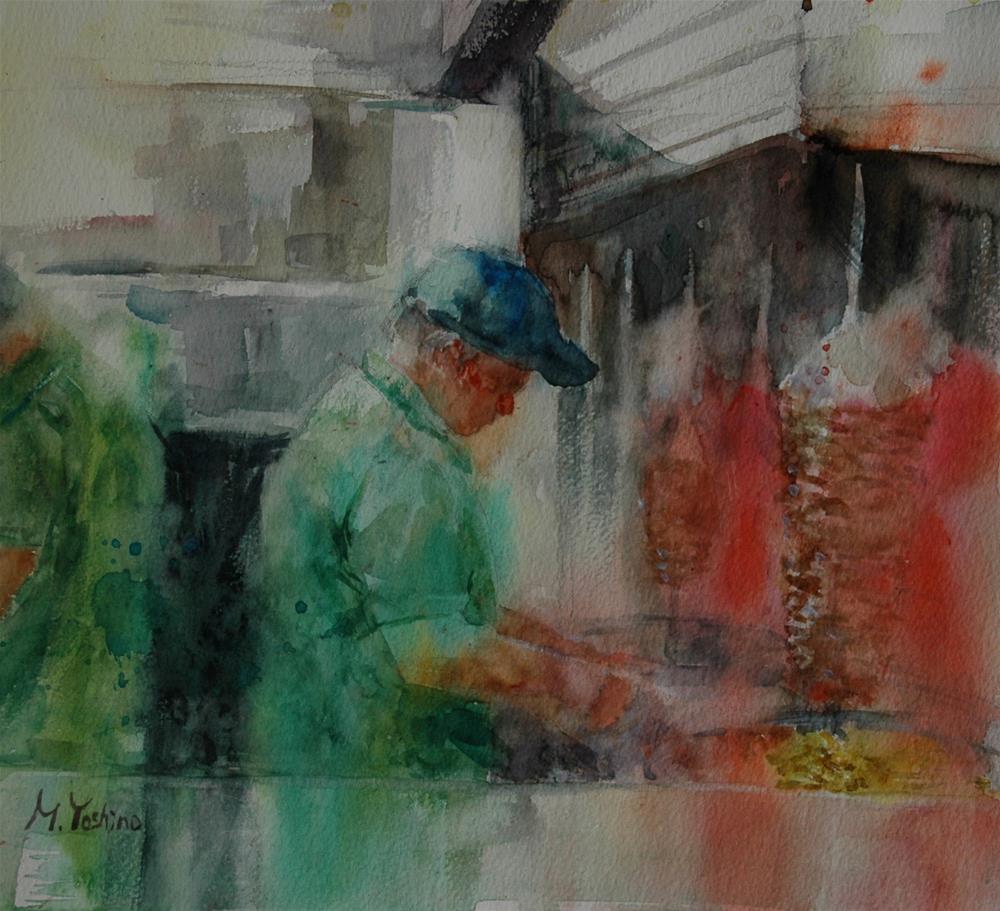 """Al Amal cafe, Al Ain"" original fine art by Midori Yoshino"
