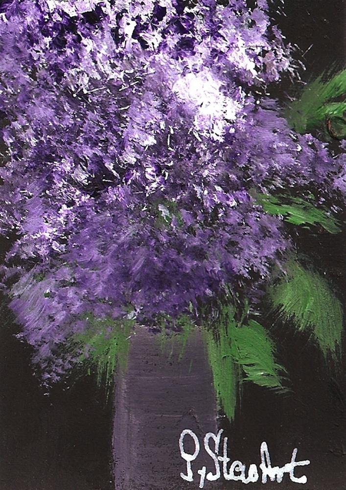 """ACEO, Lilacs a bouquet of Fresh Picked Flowers, Acrylic, Original, not a print"" original fine art by Penny Lee StewArt"