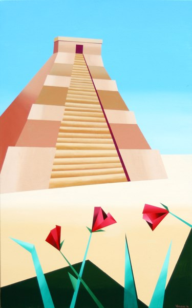 """Mark Webster - Abstract Geometric Pyramid Acrylic Painting"" original fine art by Mark Webster"