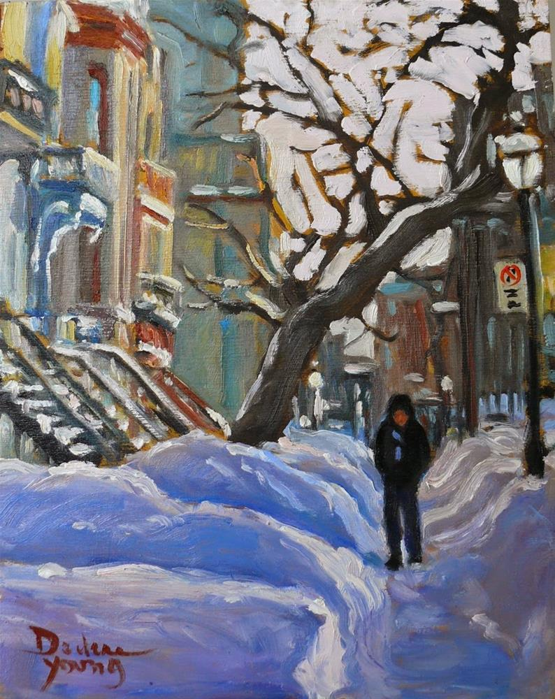 """813 Montreal Winter, Sherbrooke Street, 8x10, oil"" original fine art by Darlene Young"