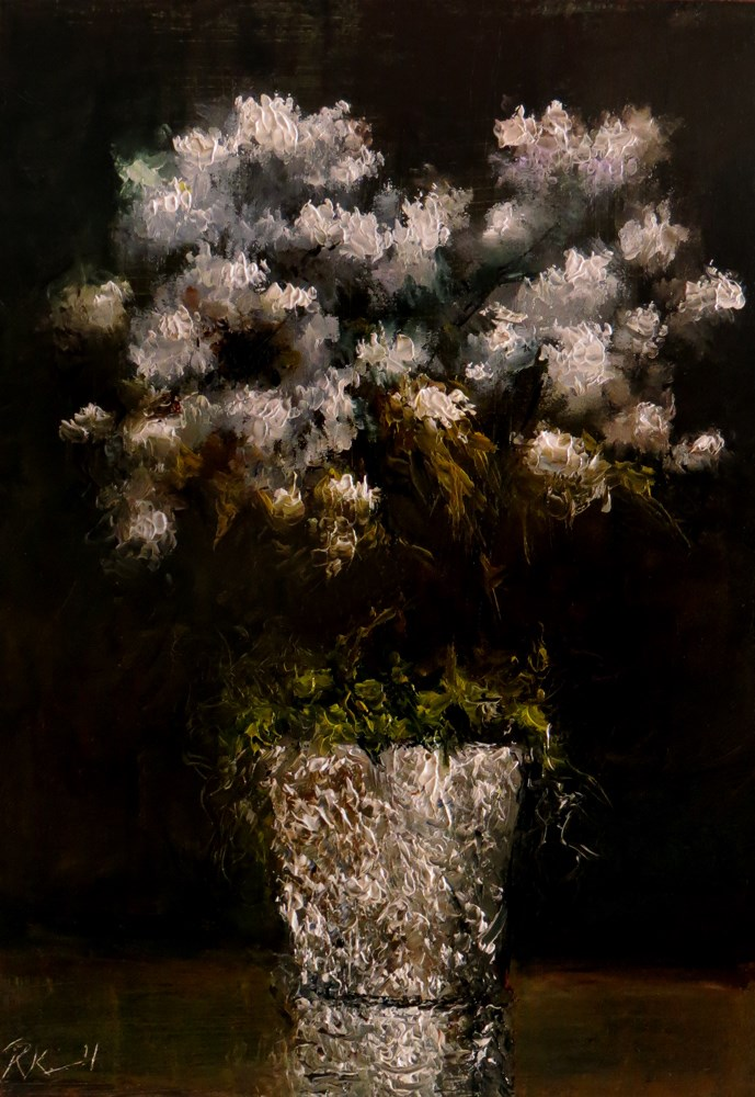"""White Flowers in a Foil Vase"" original fine art by Bob Kimball"