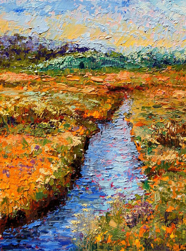 """Golden Marsh Palette Knife Painting"" original fine art by Marion Hedger"