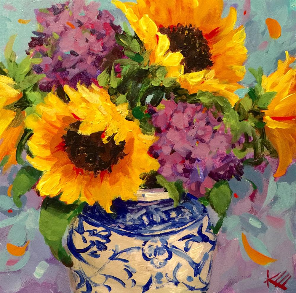 """Sunflower Splash"" original fine art by Krista Eaton"