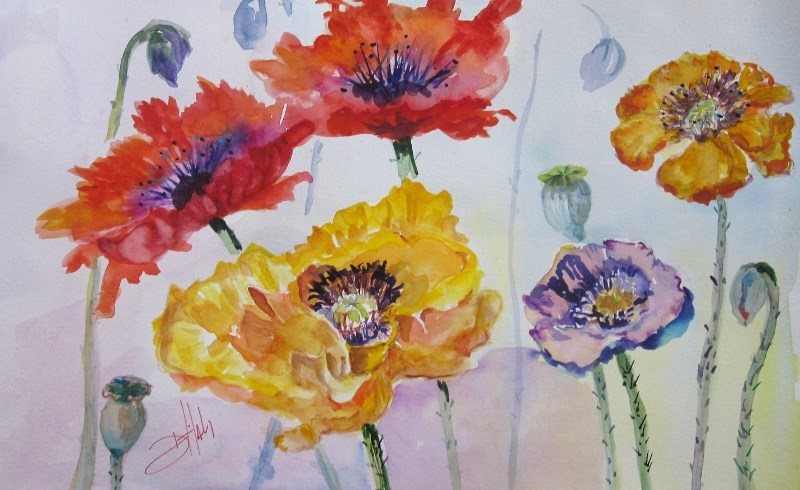"""Poppies in the Field"" original fine art by Delilah Smith"