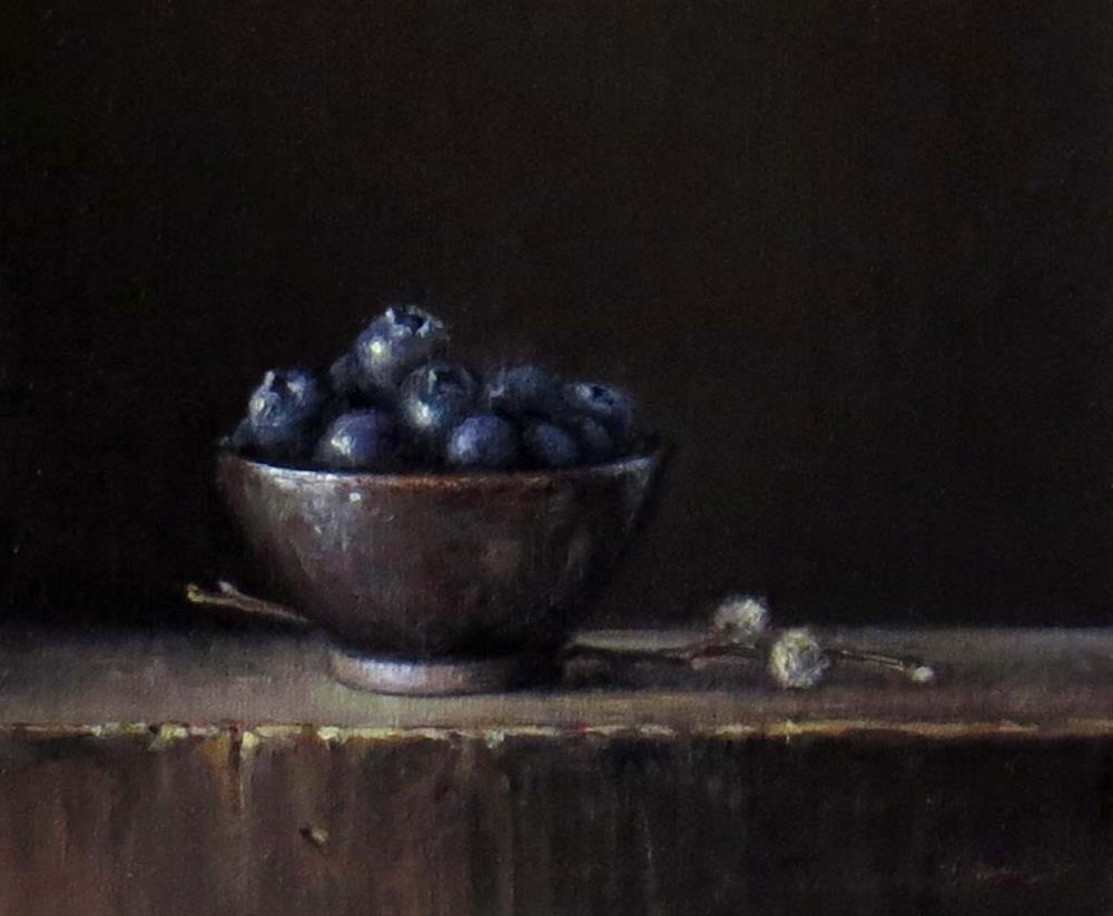 """Blueberries and Pussy Willow"" original fine art by Darla McDowell"