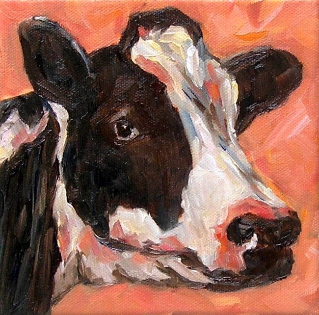 """Red Cow"" original fine art by Irina Beskina"
