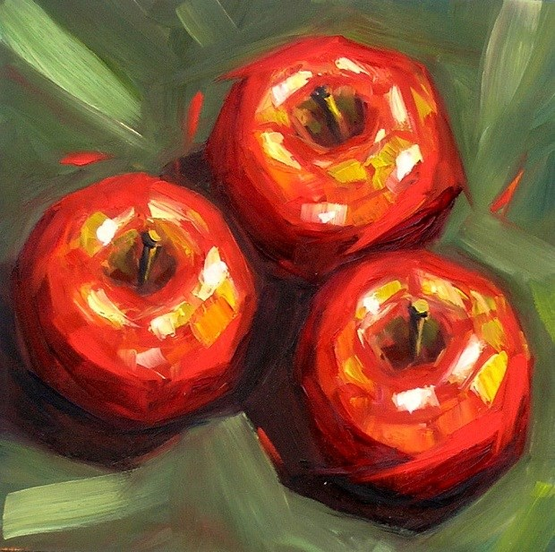 """Trio: apples"" original fine art by Irina Beskina"