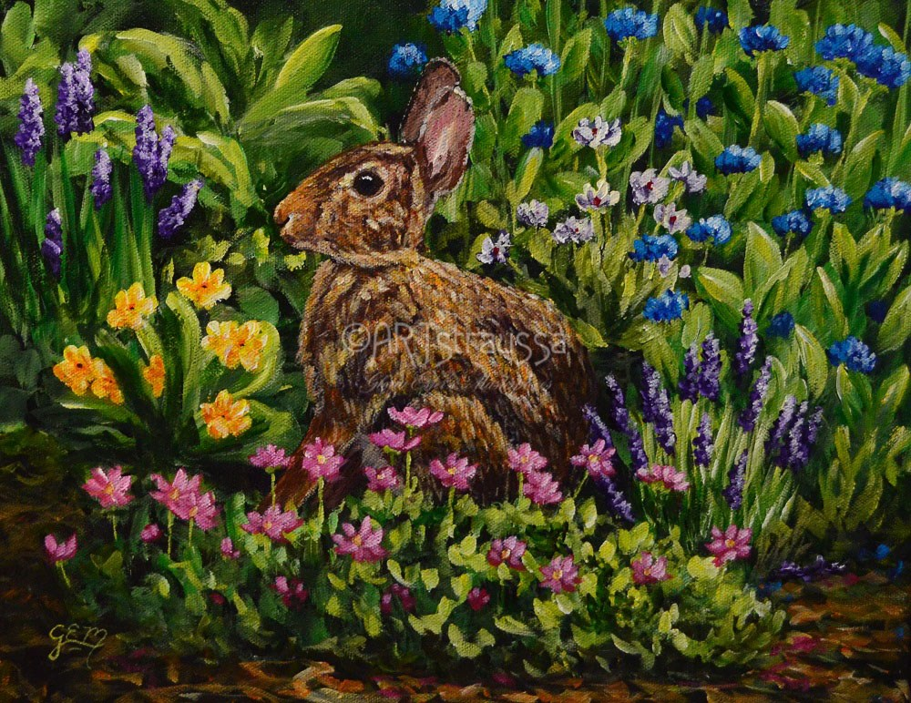 """Miss Whisker's Garden"" original fine art by Gloria Ester"