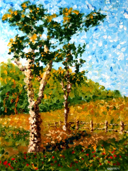 """Mark Webster - Impressionist Tree Landscape Acrylic Painting"" original fine art by Mark Webster"