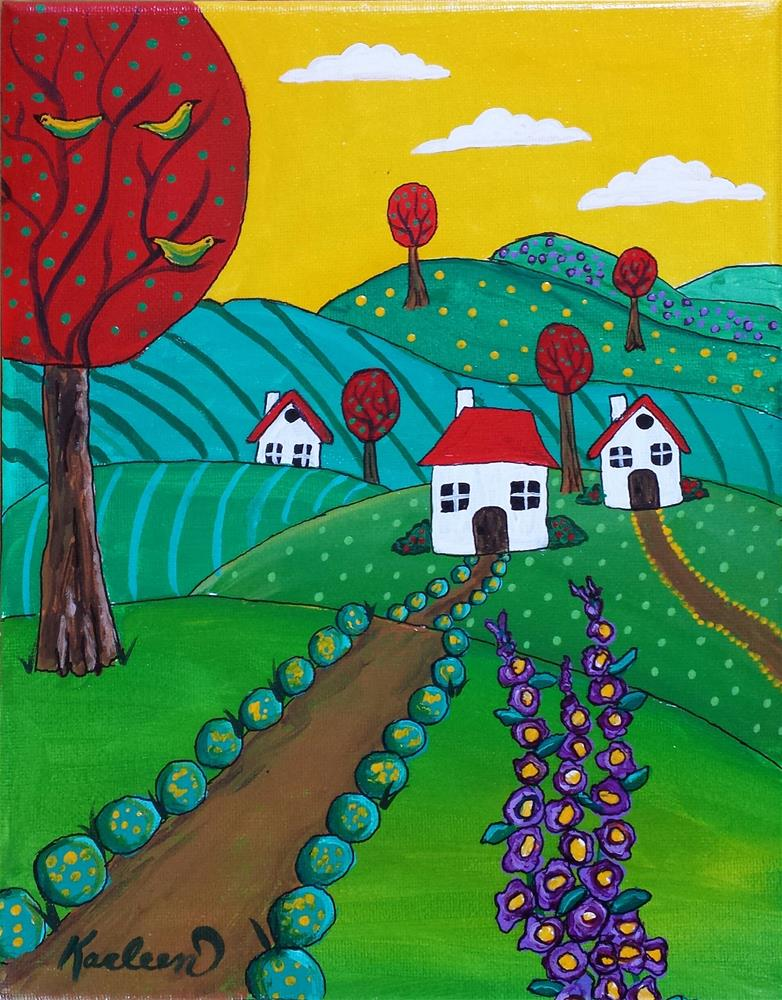 """Whimsical Countryside"" original fine art by Karleen Kareem"