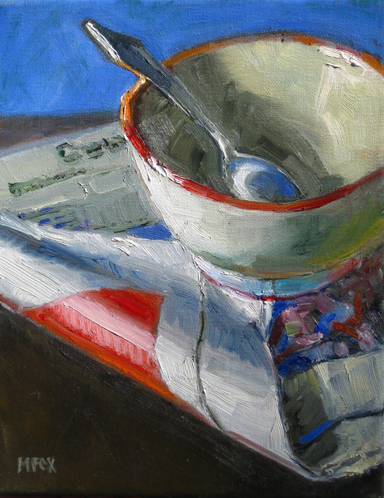 """Cereal Bowl & Newspaper, still life"" original fine art by Marie Fox"
