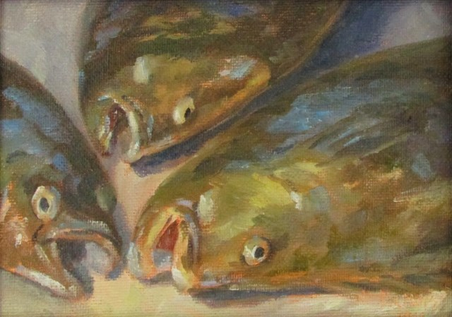 """Halibut for Dinner"" original fine art by Christine Lewis"