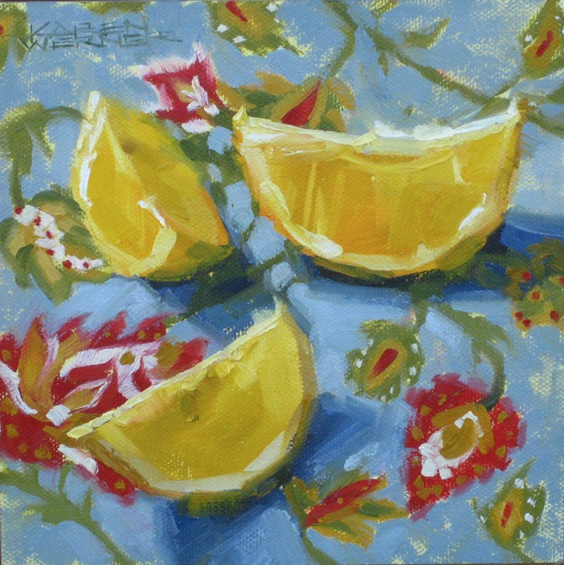 """Lovely Lemons"" original fine art by Karen Werner"