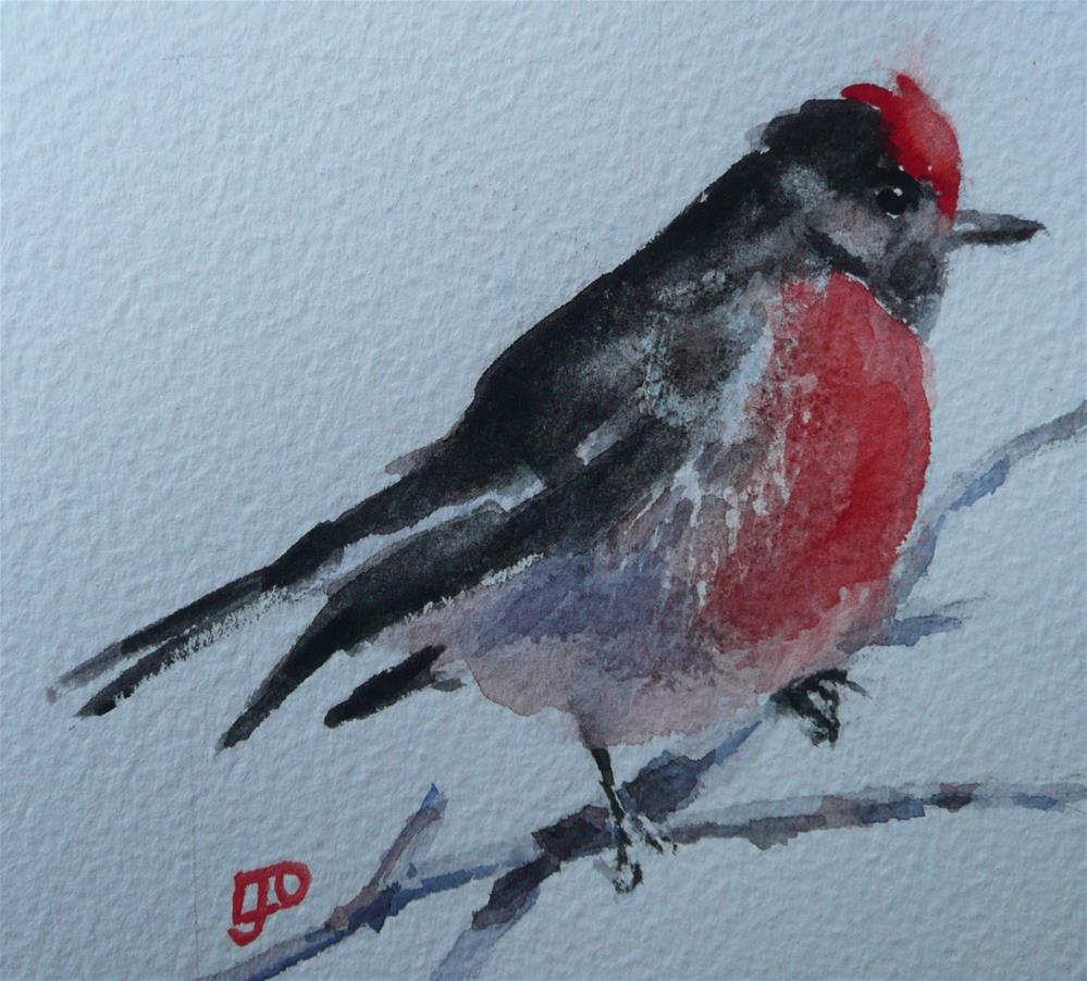 """Red-capped Robin"" original fine art by Leanne Owen"